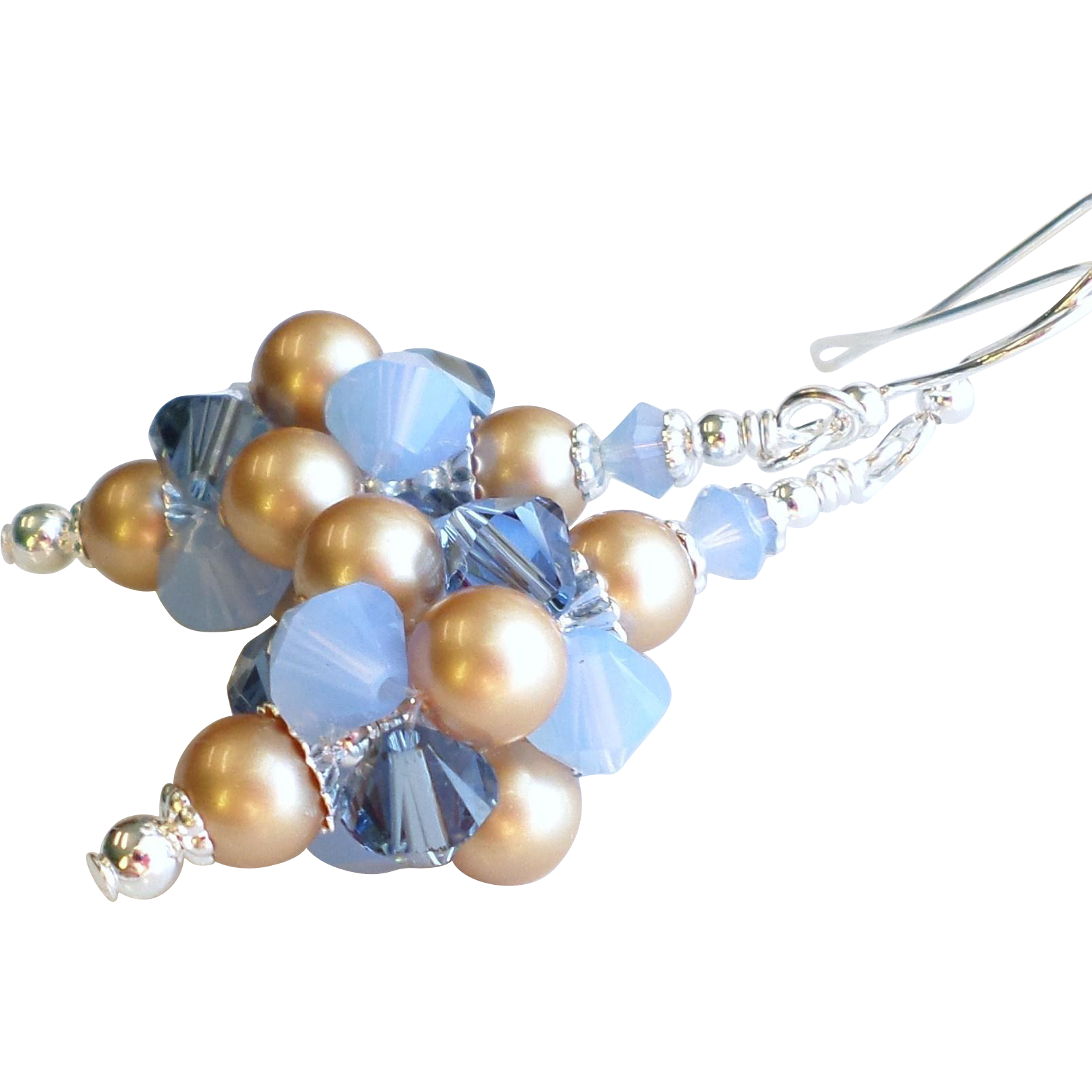 Swarovski Crystal and Faux Pearl Cluster Ball Earrings In Blues and Gold