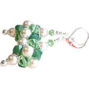 Swarovski Crystal and Faux Pearl Cluster Ball Earrings In Green and White