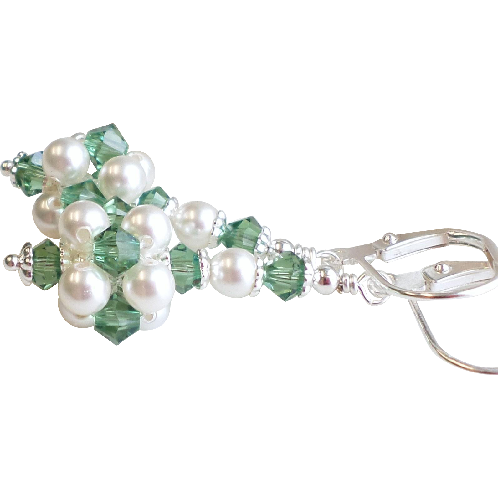 Mini Swarovski Crystal and Faux Pearl Cluster Ball Earrings In Green and White