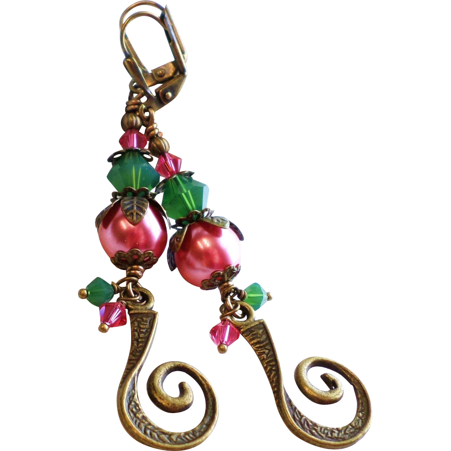 Swarovski Crystal and Faux Pearl Rose and Green Long Brass Earrings