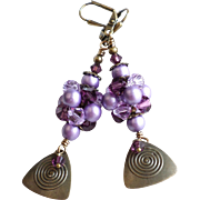 Purple Shades Swarovski Crystal and Faux Pearl Brass Dangle Earrings