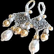 Aged Silver Finished Brass Swarovski Faux Pearl Chandelier Earrings