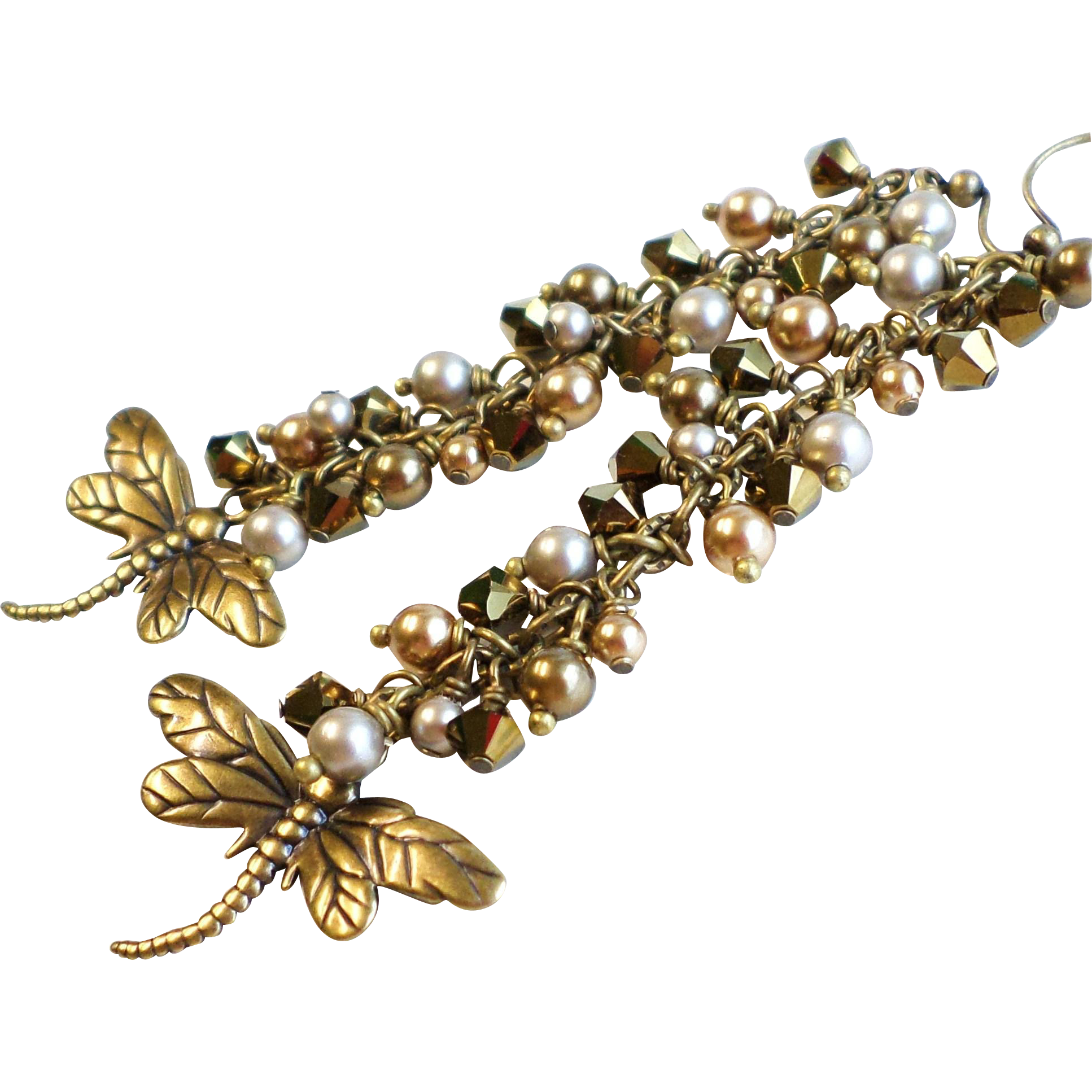Brass Dragonfly Long Swarovski Crystal and Faux Pearl Earrings