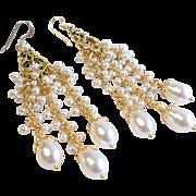 White Swarovski Faux Pearl Long Chandelier Earrings