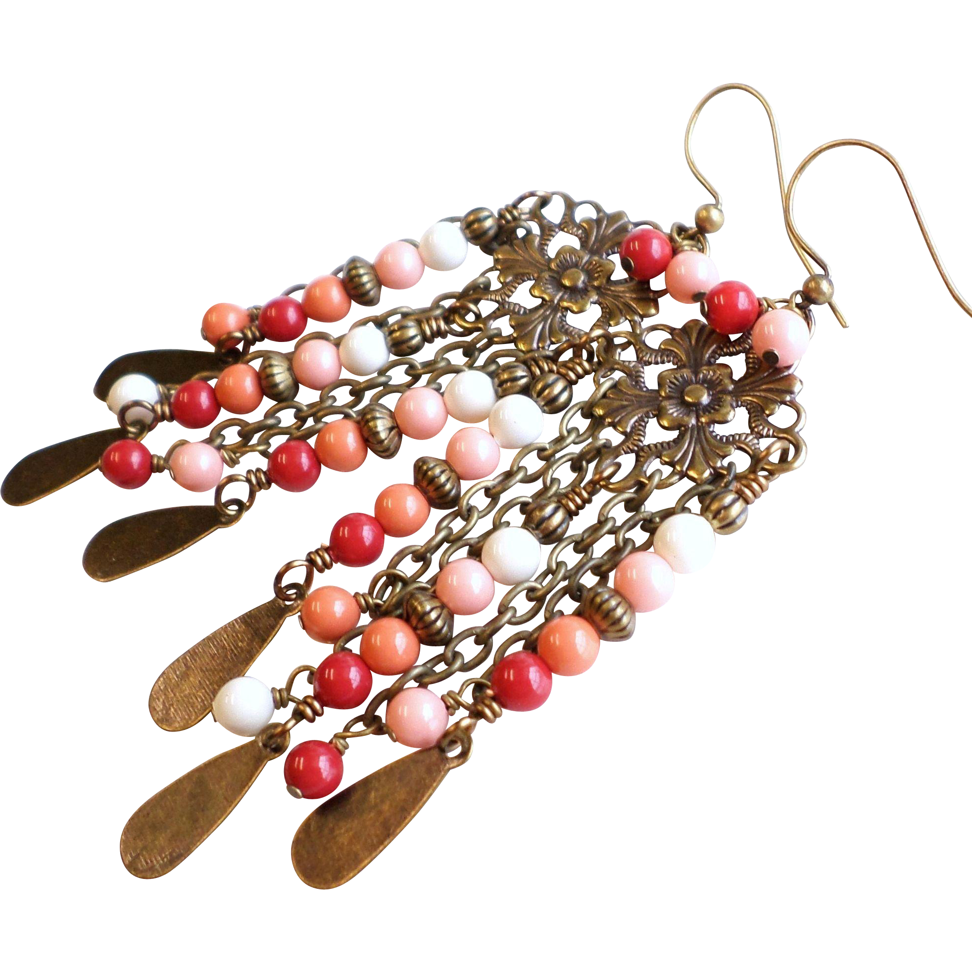 Swarovski Faux Pearl Long Brass Chandelier Earrings In Red, Pink and Coral Shades
