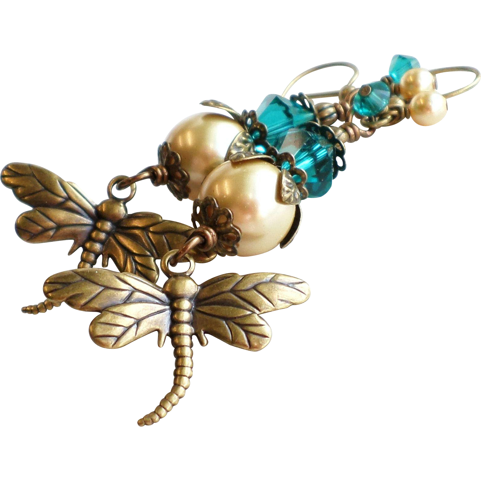 Brass Swarovski Crystal and Faux Pearl Dragonfly Motif Earrings