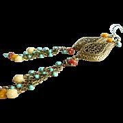 5 Inch Long Brass and Czech Glass Bohemian Style Chandelier Earrings