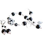 Black and White Floral Lampwork Bracelet and Earrings Set