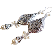 Cream Swarovski Faux Pearl Chandelier Earrings With Dark Silver Finished Pewter Elements