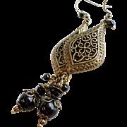 Swarovski Black Crystal Faux Pearl Dangle Earrings With Aged Brass Chandelier Earrings