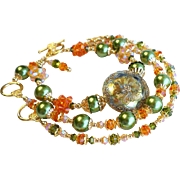Three Piece Bracelet Set With Czech Glass Buttons, Swarovski Crystals, and Glass Pearls