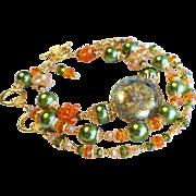 Three Piece Bracelet Set With Czech Glass Buttons, Swarovski Crystals, and Glass Pearls