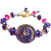 Czech Glass Button Bracelet In Purple, Blue and Fuchsia With Swarovski Crystals and Glass Pearls