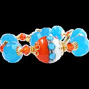 Orange and Turquoise Swarovski Crystal Lampwork Bracelet