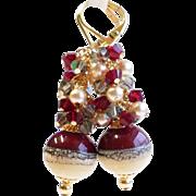 Dark Red and Cream Lampwork Cluster Earrings
