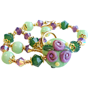 Purple and Green Floral Lampwork Bracelet