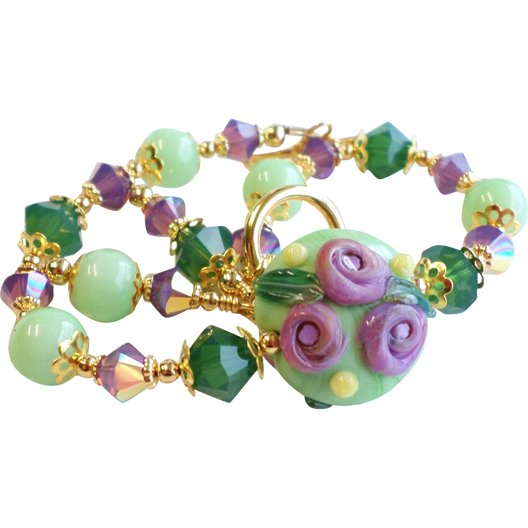 Purple and Green Floral Lampwork Bracelet