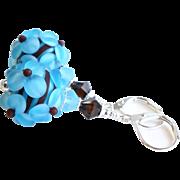 Blue and Brown Lampwork Floral Earrings