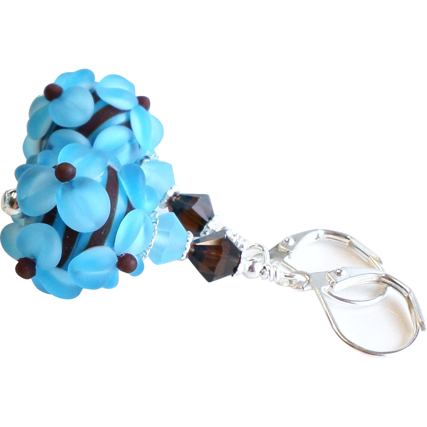 Blue and Brown Lampwork Floral Earrings