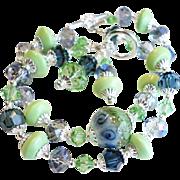 Double Strand Blue Green Lampwork Bracelet
