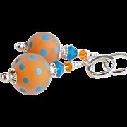 Orange Blue Polka Dot Lampwork Earrings