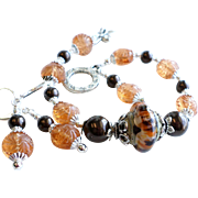 Brown and Orange Lampwork Bracelet With Earrings