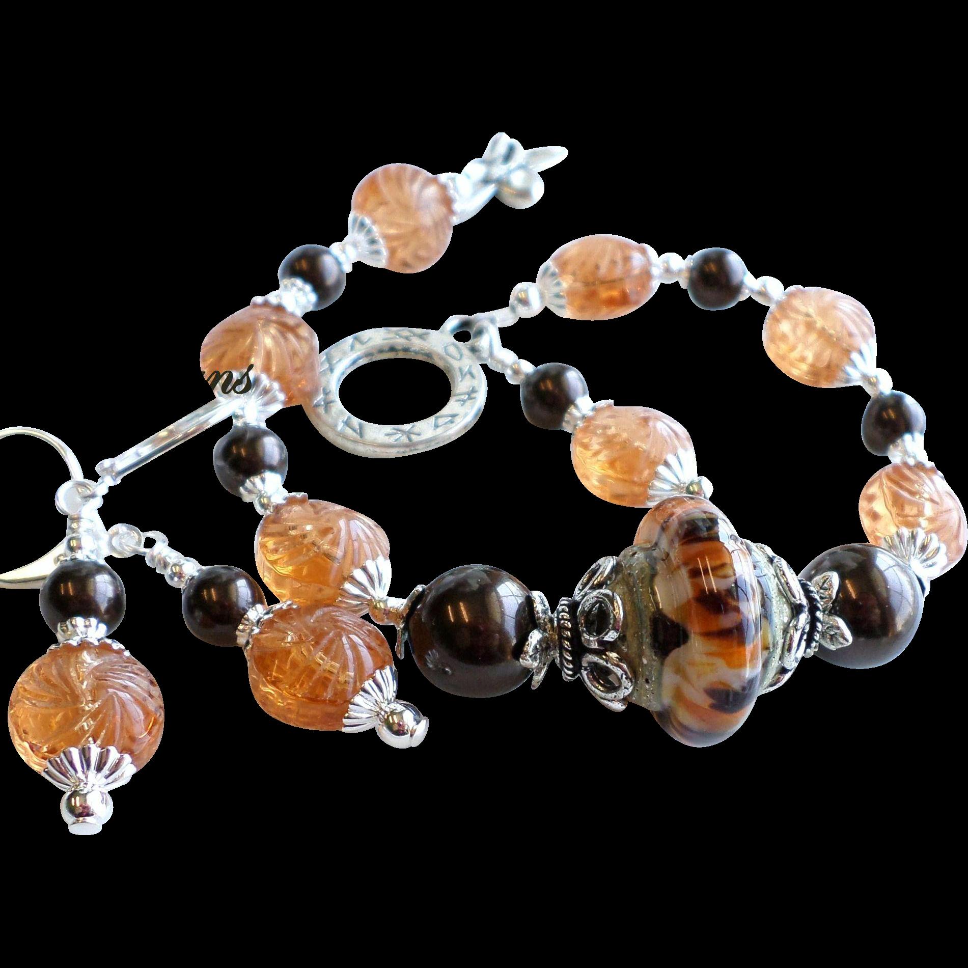 Brown and Orange Lampwork Bracelet With Earrings