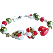 Heart Lampwork Bracelet In Red, White and Green With Swarovski Crystals, Glass Pearls and Glass Beads