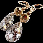 Swarovski Gold Patina Long Dangle Earrings