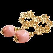 Pink Coral Swarovski Faux Pearl Flower Post Dangle Earrings
