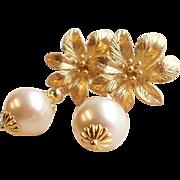 Swarovski Cream Rose Faux Pearl Flower Dangle Earrings