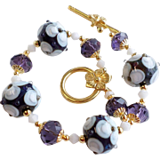 Purple and White Floral Lampwork Bracelet