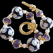 Purple and White Floral Lampwork Bracelet