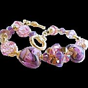 Pink and Purple Venetian Glass 22KT Gold Foil Swarovski Crystal Bracelet