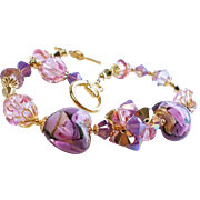 Pink and Purple Venetian Glass 22KT Gold Foil Swarovski Crystal Bracelet