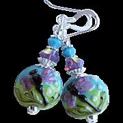 Dragonfly Blue Green Purple Lampwork Earrings