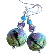 Dragonfly Blue Green Purple Lampwork Earrings