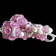 Pink and Cream Lampwork Swarovski Crystal Cluster Earrings