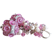 Pink and Cream Lampwork Swarovski Crystal Cluster Earrings