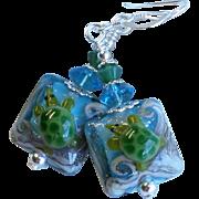 Sea Turtle Lampwork Earrings In Blue and Green