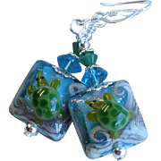 Sea Turtle Lampwork Earrings In Blue and Green