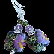 Lampwork Earrings With Pink Purple Flowers