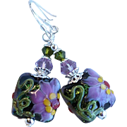 Lampwork Earrings With Pink Purple Flowers