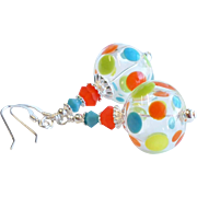 Polka Dot Lampwork Glass Earrings With Swarovski Crystals