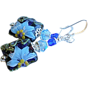 Blue Floral Lampwork Earrings With Swarovski Crystals