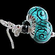 Teal and Black Scrolls Lampwork Swarovski Crystal Earrings