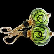 Lime Green and Black Scrolls Lampwork Swarovski Crystal Earrings