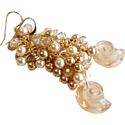 Sea Snail Gold Shades Swarovski Crystal and Pearl Long Cluster Earrings
