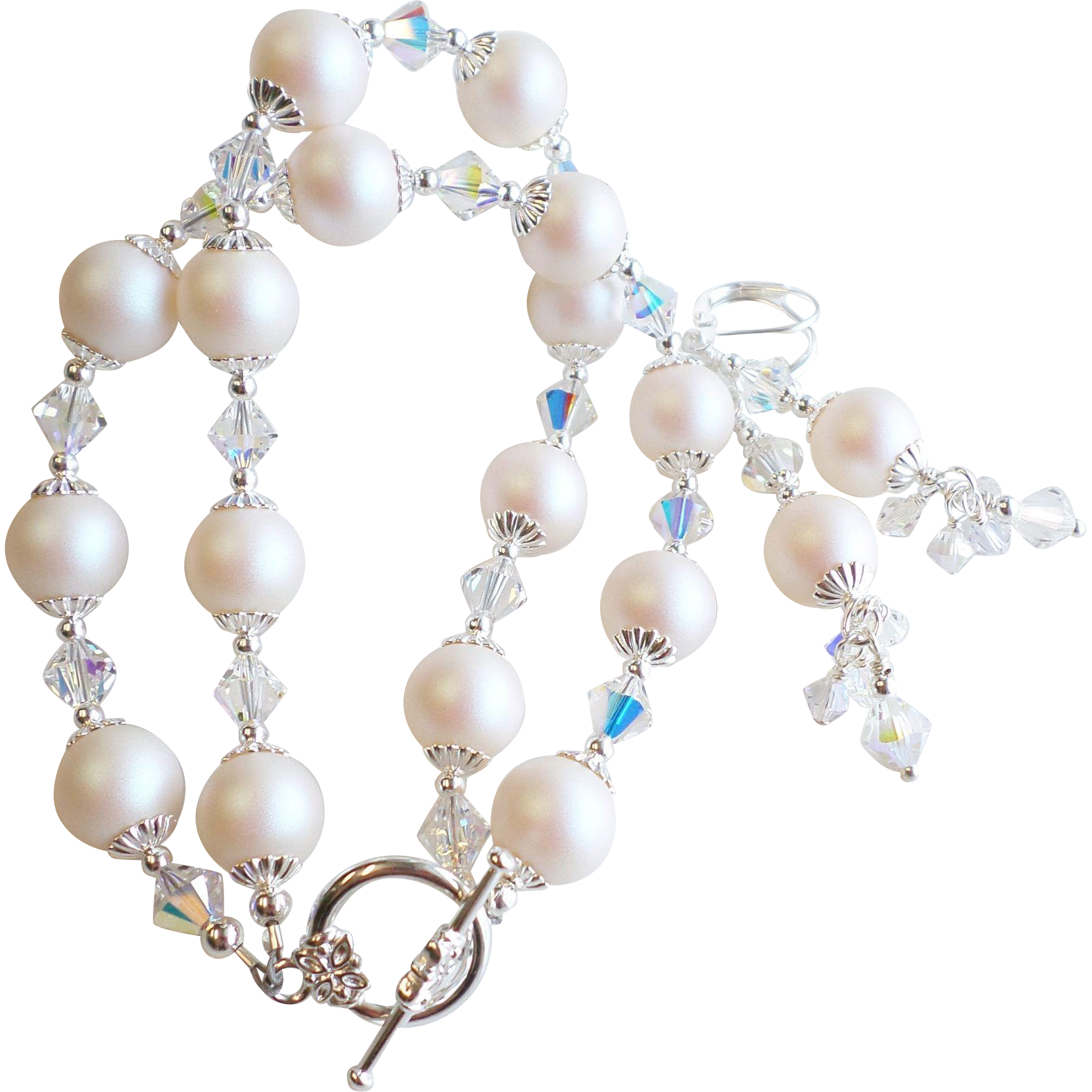 Double Strand Swarovski Crystal and Faux Pearl Bracelet Earrings Set -New Pearlescent White Shade