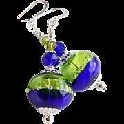 Cobalt Blue and Lime Green Lampwork Swarovski Crystal Earrings